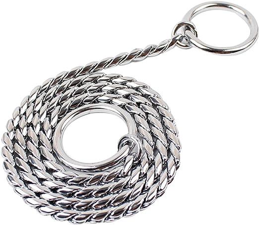 Z-Meng P color plateado Collar de cadena de serpiente para entrenamiento de perro