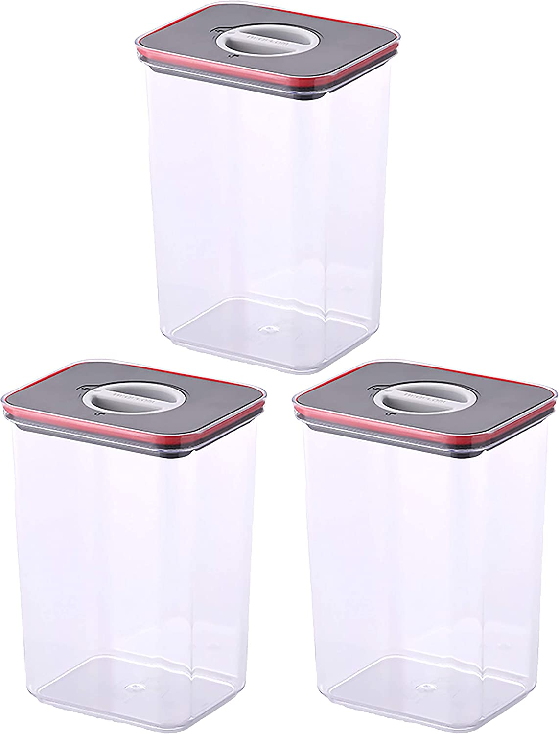 NEOFLAM Airtight Smart Seal Food Storage Container (Set of 3, Rectangle) | Crystal Clear Body | Modular, Stackable, Nestable Design | Easy to Clean, BPA Free (2.7 L, 91 oz)