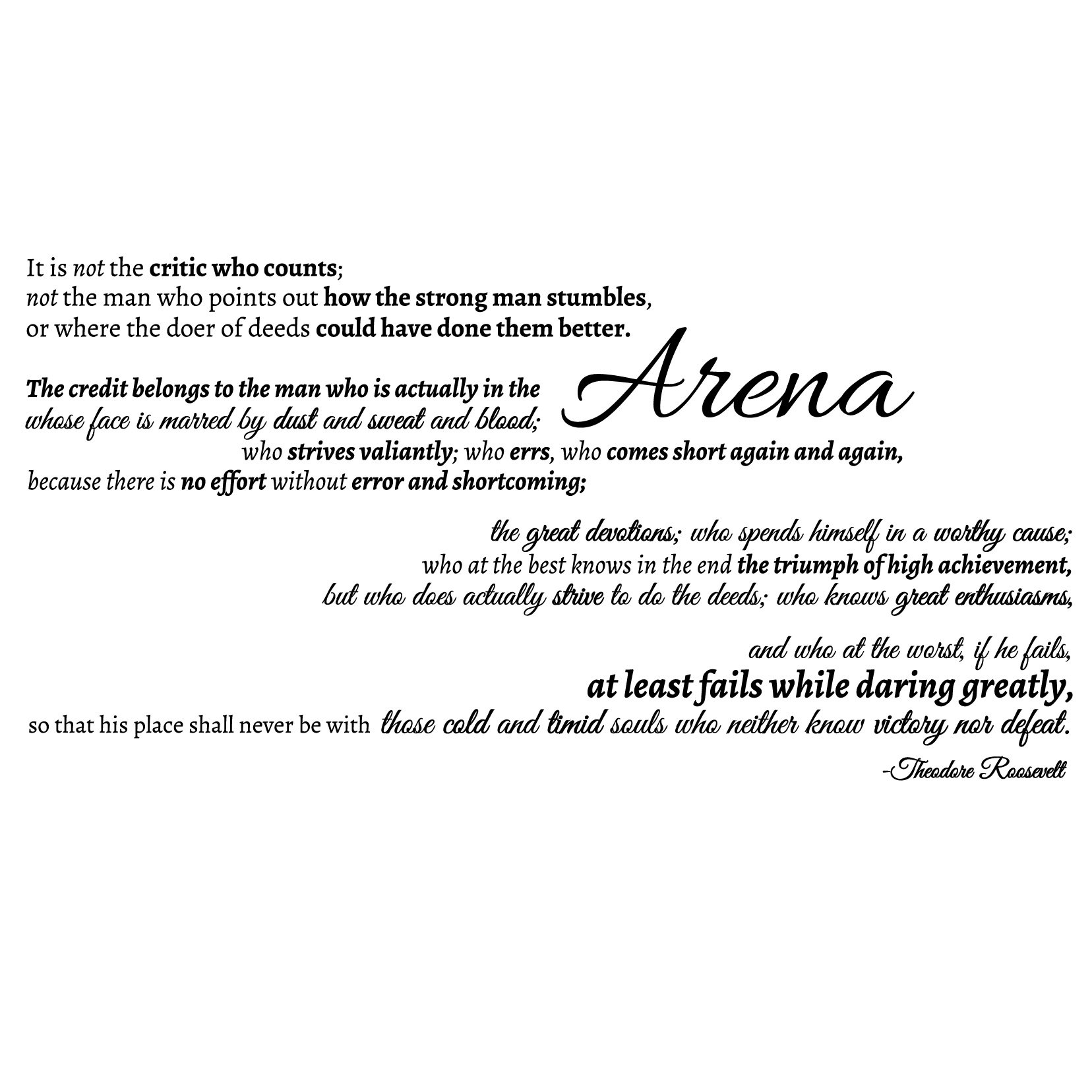 The Man in the Arena Quote - Large in Black - Vinyl Wall Art Decal for Homes, Offices, Kids Rooms, Nurseries, Schools, High Schools, Colleges, Universities, Interior Designers, Architects, Remodelers