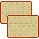 Macaron Silicone Baking Mat - Set of 2 Non Stick Silicon Macaroon Baking Sheet Cookie Liner(BPA Free/Reusable/Half Sheet…