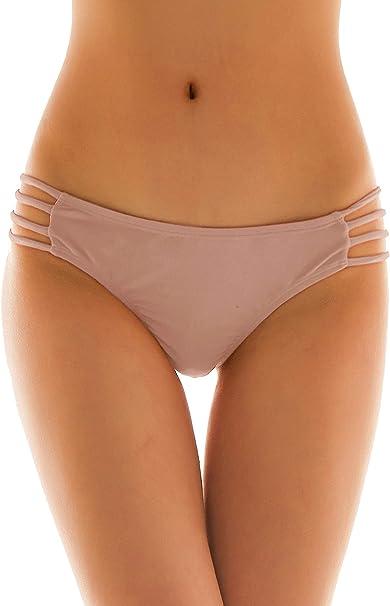 SHEKINI Damen Niedrige Taille Bikini Bottom Bademode Tanga Bikinihose String R/üschen Brazilian Bikini Slip