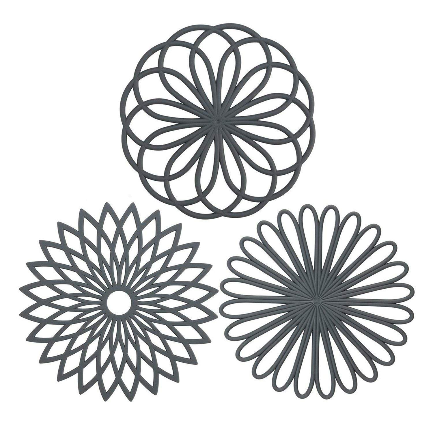 IPHOX 3 Set Silicone Multi-Use Intricately Carved Trivet Mat for kitchen mats, table mats, bowl mats, dish mats and pitcher coasters - Insulated Flexible Durable Non Slip Coasters Hot Pads (Gray)