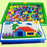 296 Pegs Mushroom Nails Jigsaw Puzzle Game Creative Mosaic Pegboard Educational Toys for Children (Random Colors)