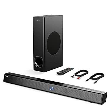 2.1 Channel Soundbar with Subwoofer, ABOX 120W Sound Bar for TV, Wireless & Wired Home Theater Surround Sound, 5 Input with Remote Control, Wall Mountable
