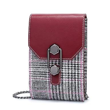 Bolso De Hombro Mini Para Mujer Bolso De Embrague Para Teléfono Móvil Embrague,Red-(LxWxH):12x4x18cm: Amazon.es: Ropa y accesorios