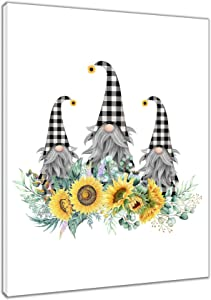 HVEST Sunflower Wall Art Framed Black and White Buffalo Check Plaid Gnome with Rustic Floral Plants Canvas Abstract Painting Ready to Hanging for Bedroom Living Room Bathroom Decor,12x16Inches