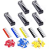 Glarks 70Pcs(5Sets) Terminal Block Set, 5Pcs 7 Positions 600V 15A Dual Row Screw Terminals Strip + 5Pcs Pre-Insulated…