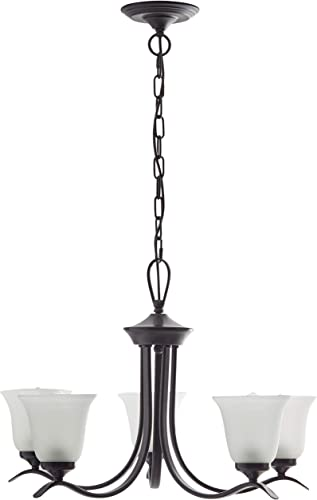 Ravenna Home Contemporary Modern Chandelier with 5 White Glass Light Shades – 26 x 26 x 40 Inches, Matte Black
