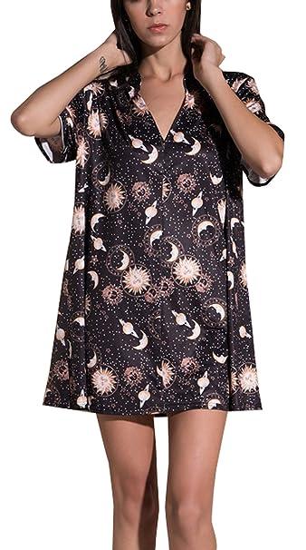 DouYuLike Verano Mujeres Impresión Mini Vestido de Playa Gala Cuello V Manga Corta Vestidos de Partido: Amazon.es: Ropa y accesorios