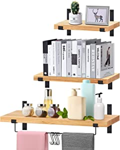 Floating Shelves Wall Mounted, VEARMOAD Solid Wood Wall Storage Shelves Set of 3, Hanging Shelves with Towel Holder & Hooks for Bedroom, Living Room, Bathroom, Kitchen, Office and More