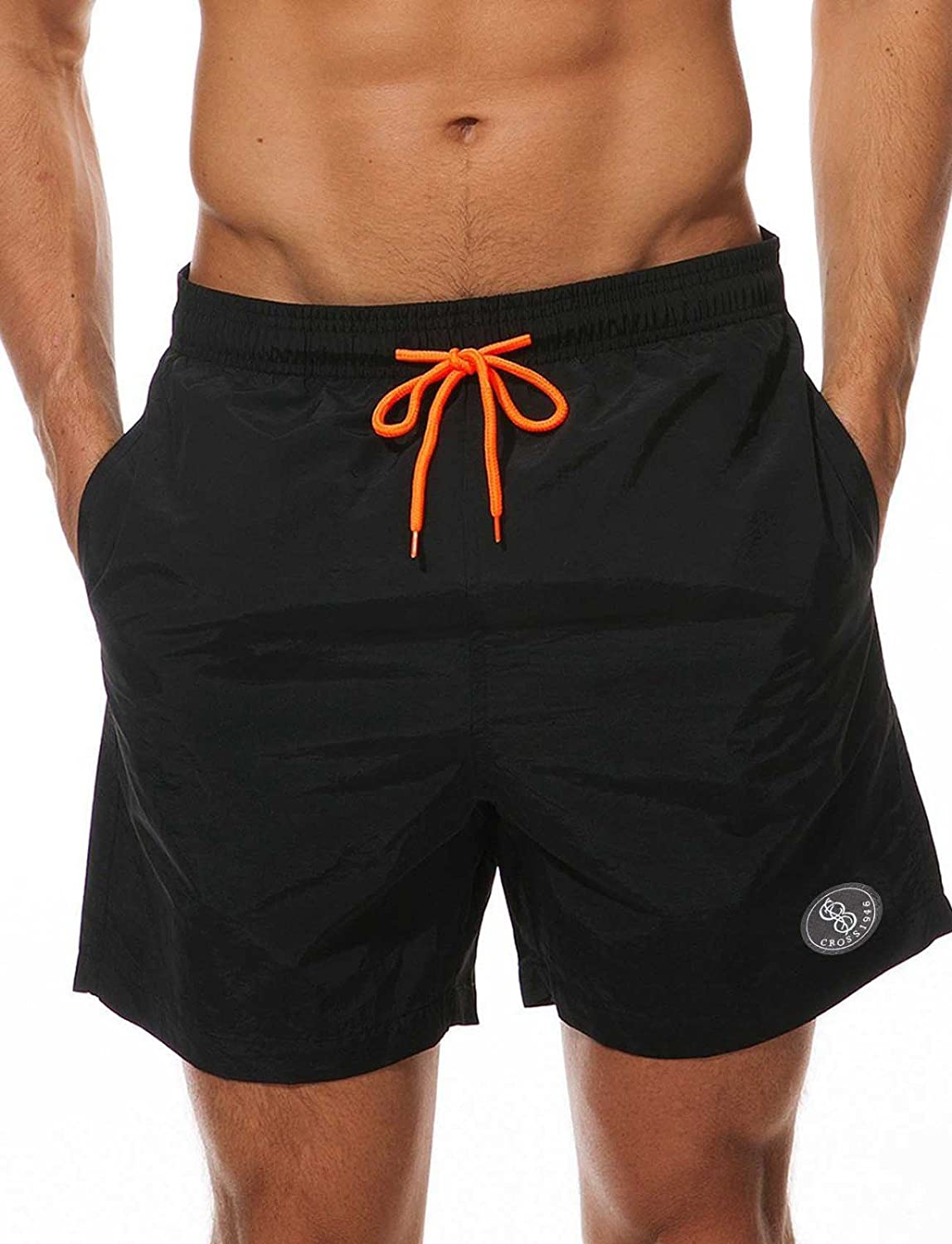 846ec08de4 GREAT QUALITY: This swim trunk Features an elastic waist band, drawstring,  mesh lining, two side pockets and one back pocket.