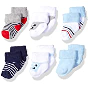 Luvable Friends Baby Newborn Terry Socks 6-Pack, Boy Shoes