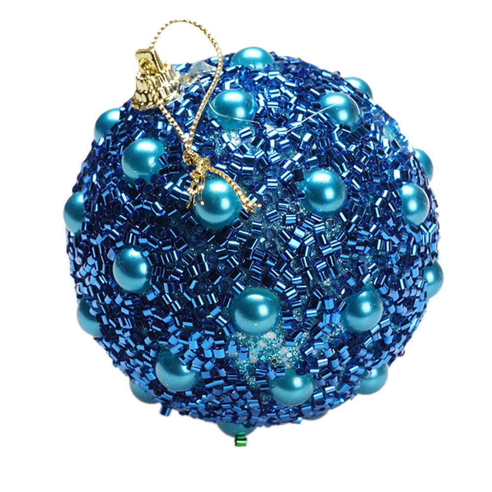 Christmas Tree Decoration Christmas Ball Ornaments Decoration Tree Balls for Holiday Wedding Party Decoration (8cm in Diameter) Rhinestone Glitter Baubles Balls Xmas Tree Ornament Decoration (Blue)