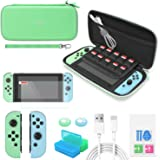 YUANHOT Accessories Bundle Compatible with Switch Animal Crossing Edition with Carrying Storage Case, Screen Protector, Remot