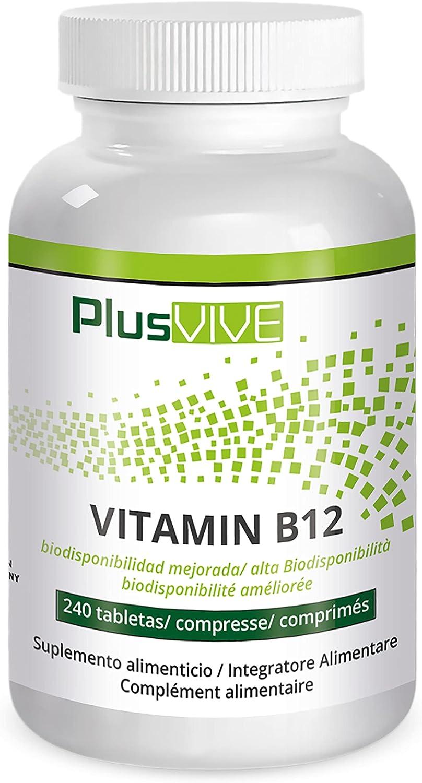 Plusvive - Tabletas de vitamina B12 altamente dosificadas con biodisponibilidad mejorada