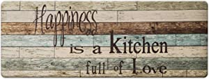 "Farmhouse Kitchen Mats Cushioned Anti-Fatigue Comfort Mat for Home & Office Ergonomically Engineered Memory Foam Kitchen Rug Waterproof Non-Skid, 47"" by 18"", Happiness"