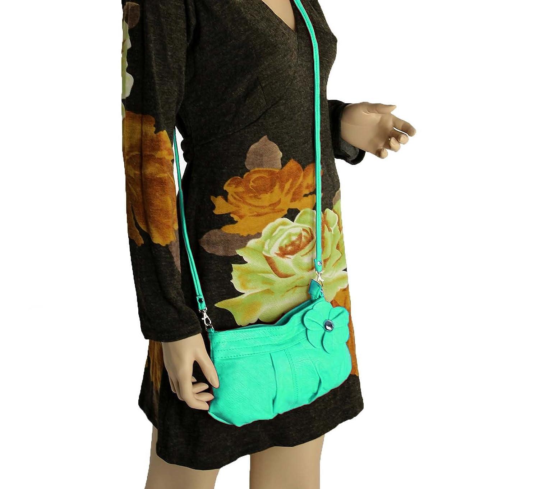 Verde verde claro BxH OBC Italiana de dise/ño bolso de mujer con flor Peque/ño bolso de bandolera bolsa de hombro Bolso Clutch Crossover Mini Bag Street 26/x 16/cm