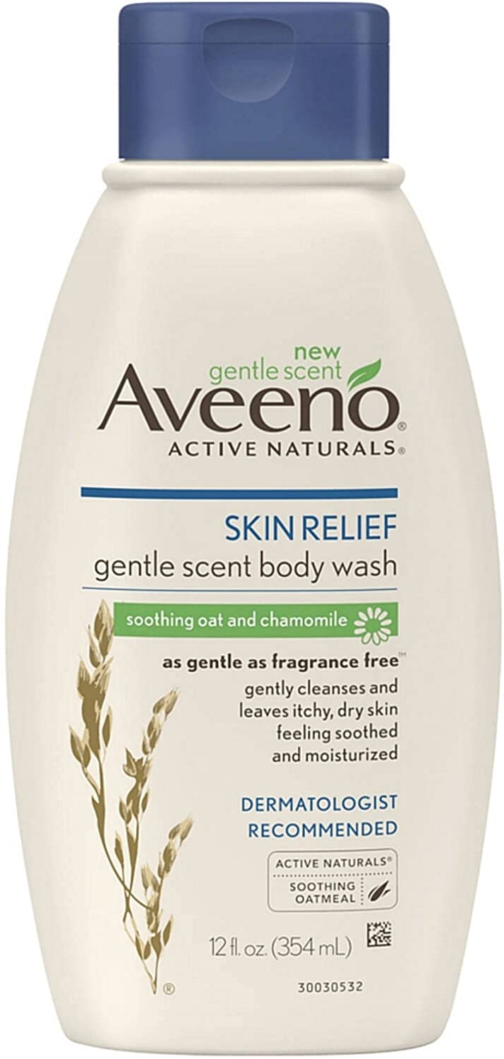 AVEENO Active Naturals Skin Relief Gentle Scent Body Wash, Soothing Oat and Chamomile 12 oz (Pack of 4)