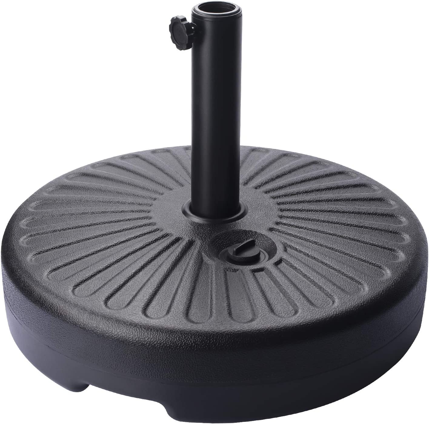 FRUITEAM Water Filled 55LB Outdoor Patio Umbrella Base Heavy Duty Stand Pole Holder 1.5-inch Thickened Steel Pole Round Base for 6-9Ft Straight-Pole Garden Umbrellas