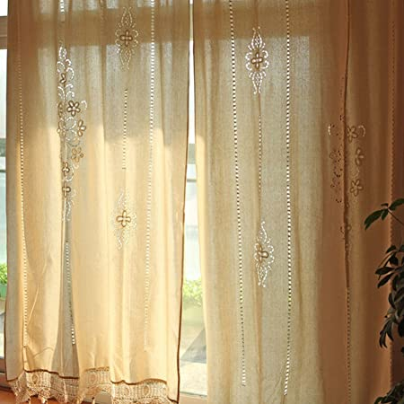 OurWarm 102 X 70 Inch Linen Curtain Panel Lace Cotton Curtains For Living Room Bedroom Kitchen