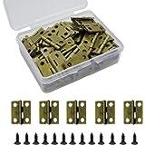 100pcs Small Box Hinges, Granmp Jewelry Box Hinges Retro Butt Hinges Mini Hinges Antique Bronze Cabinet Hinges with 400 Pieces Hinge Screws