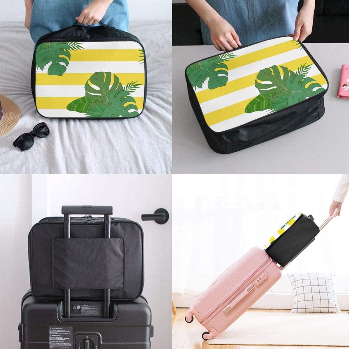 Yunshm The Leaves Of The Tropical Palm Trees Pattern Personalized Trolley Handbag Waterproof Unisex Large Capacity For Business Travel Storage
