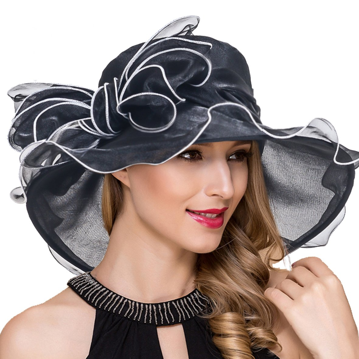 ba398f7b0a0 Kentucky Derby Hats for Women Organza Fascinator Church Tea Party Dress  Wedding Hat Black at Amazon Women s Clothing store