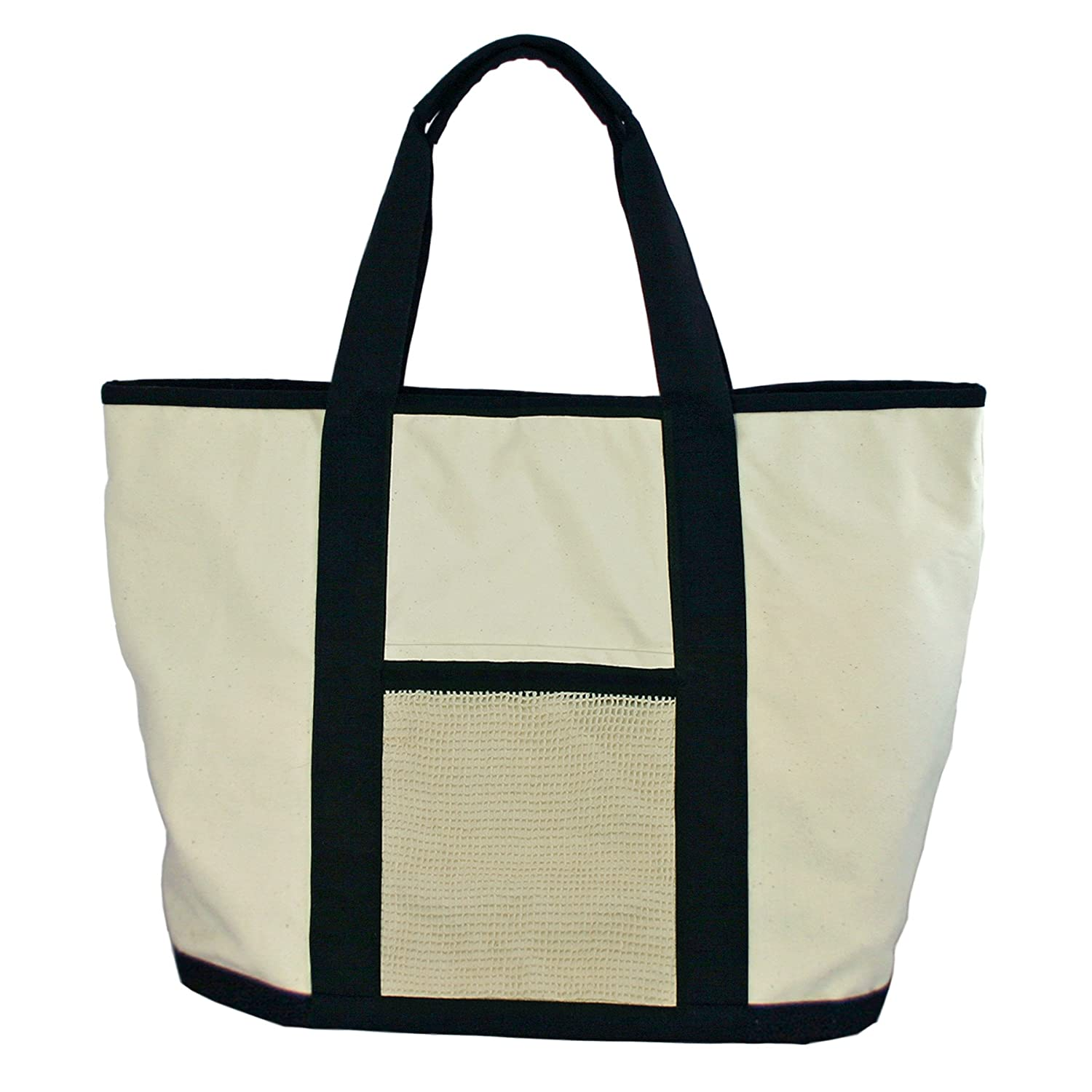 Simple Ecology Organic Cotton Super Duty Canvas Tote and Grocery Bag - Natural/Black AX-AY-ABHI-64043