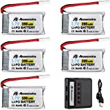 Powerextra Drone RC piezas 5pcs 3.7V 350mAh de Batería LiPO con el Cargador X5 para la Piedra Santa HS170, HS170C, F180W, F180C, Hubsan X4, H107D H107L, Syma X11 X11C