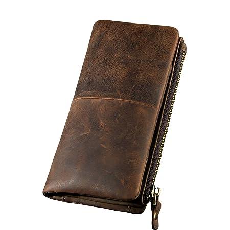 Leaokuu Mens Genuine Leather Vintage Wallet Organizer Checkbook Card Case (Brown 3)