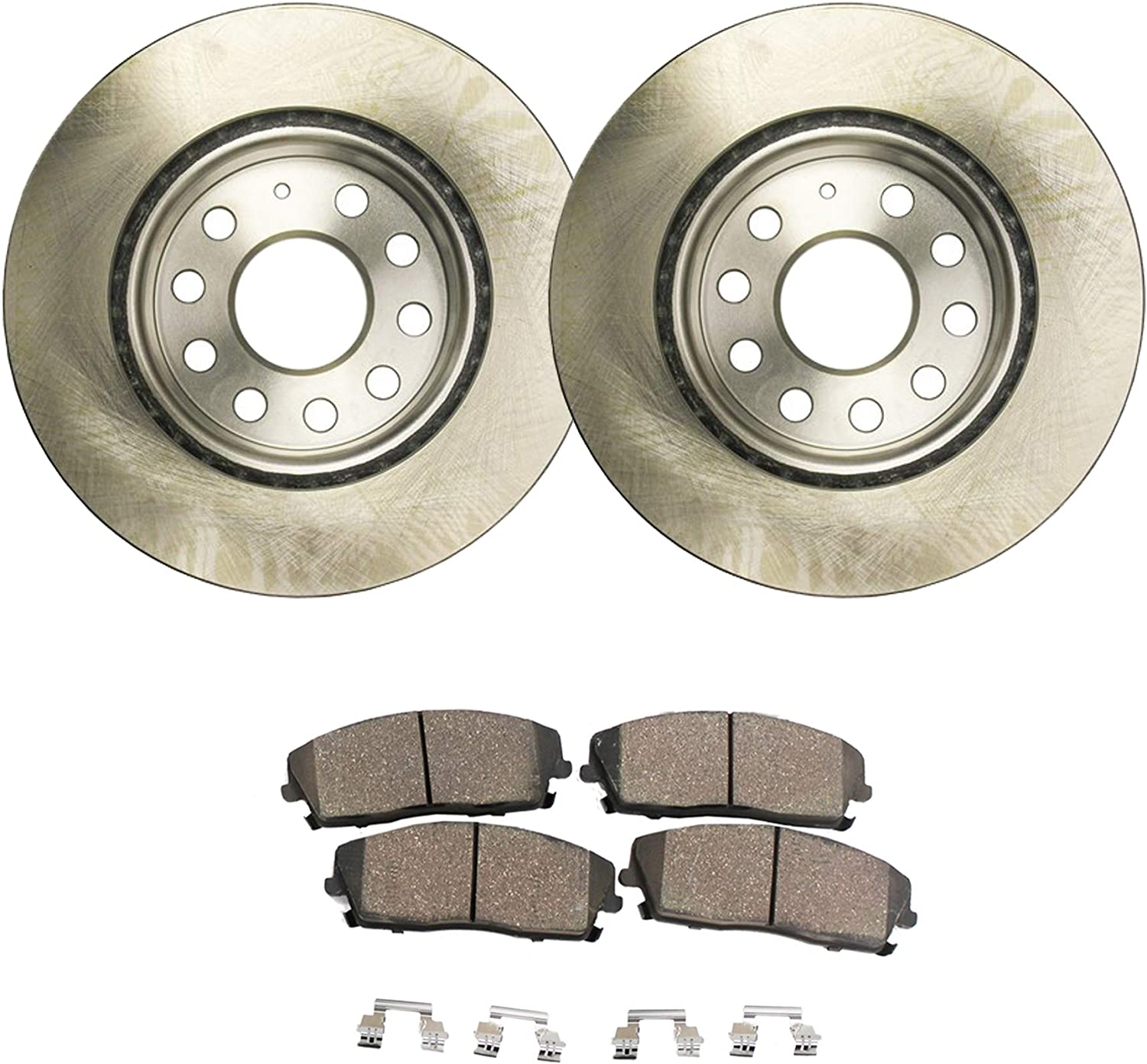 2011 VW EOS w//288mm Front Rotor Dia OE Replacement Rotors w//Ceramic Pads F