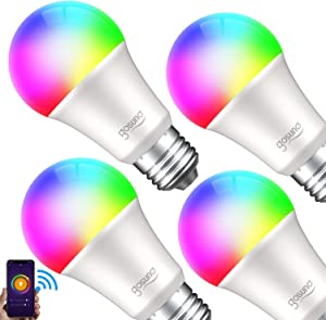 Smart Light Bulb Gosund LED RGB Color Changing Bulbs That Works with Alexa Google Home, E26 A19 8W Multicolor Lights Bulb, No Hub Required, 2.4GHz Only, 4 Pack