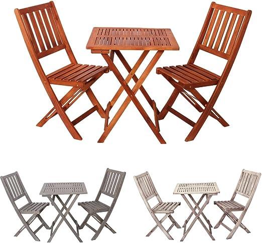 Promafit Ensemble Salon de Jardin en Bois Demeter - Table Basse Pliante + 2  chaises Pliantes - Bois d\'eucalyptus - résistant aux intempéries - ...