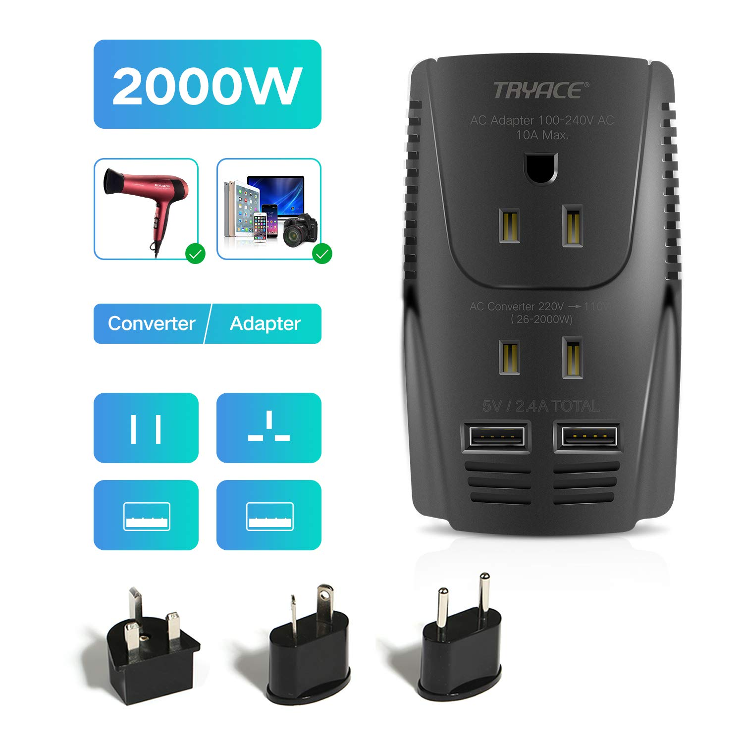 TryAce 2000W 220V to 110V Voltage Converter Step Down Voltage for Hair Dryer, Straightener, Curling Iron,Laptop,Cell Phone.Power Converter with 2-Port USB and UK/AU/US/EU Worldwide 10A Plug Adapter by TryAce