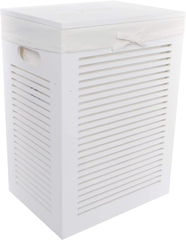 DVier MHZWK-08WRt Laundry Basket Wooden 40 x 30 x 55 cm White