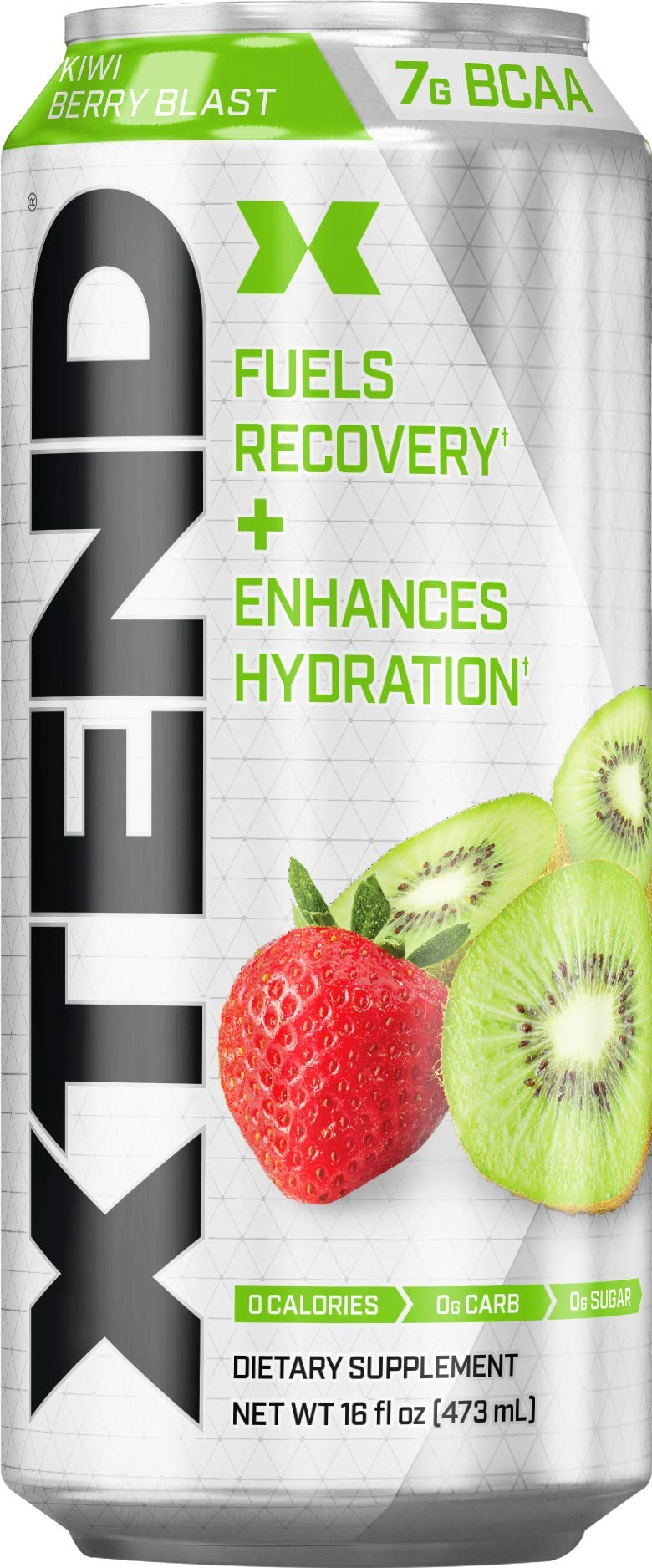 Scivation Xtend Carbonated Zero Sugar Hydration & Recovery Drink, Branched Chain Amino Acids, Electrolytes + Performance BCAAs, Kiwi Berry Blast, 16 Ounce Cans (Pack of 4)