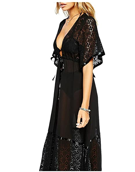 9b722c87f4 Women s Long Lace Swimsuit Bikini Cover Up Maxi Beach Dress Bathing Suit ( Black)