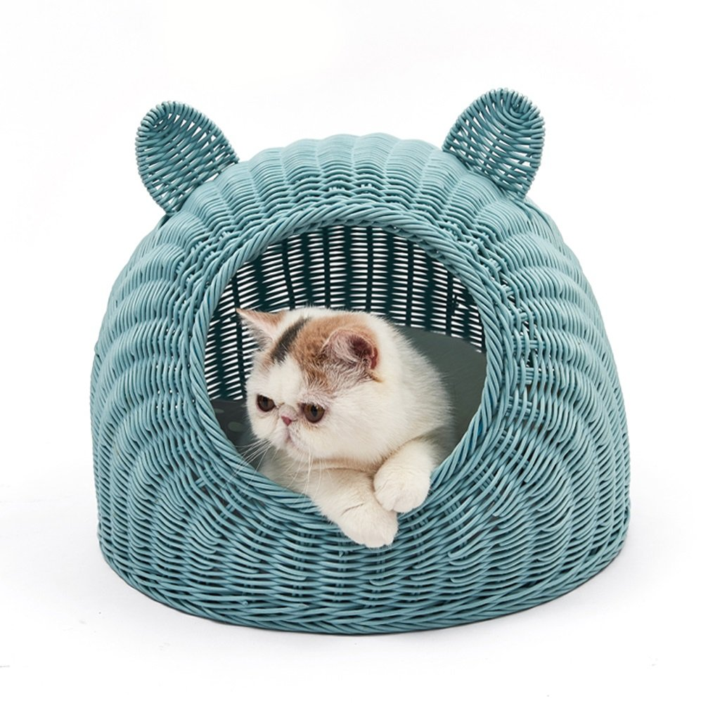 bluee MYANGWB2000 Rattan cat nest house,With cushion Easy to clean Cat house,Closed hand made Cat Villa,Four seasons universal cat supplies (color   Yellow, Size   S)