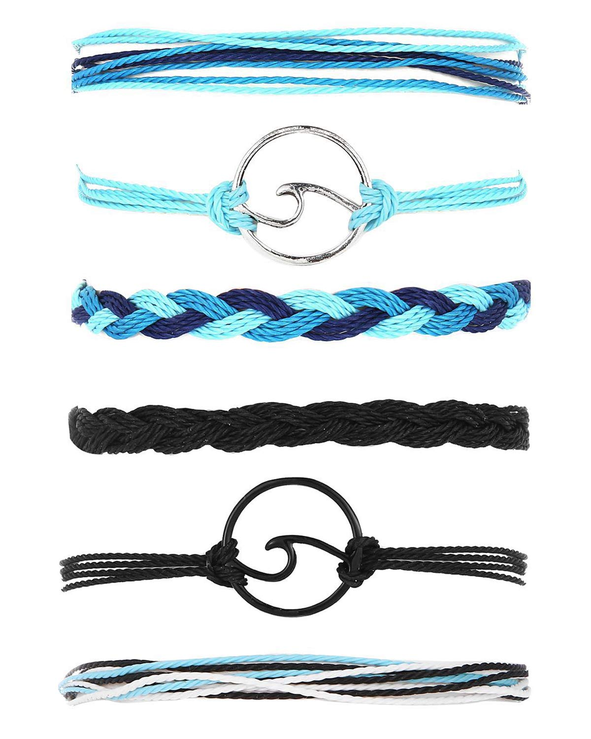 choice of all 3 Pcs Summer Surfer Wave Bracelet Adjustable Friendship Bracelet Handcrafted Jewelry Women (K:Blue+Black) by choice of all