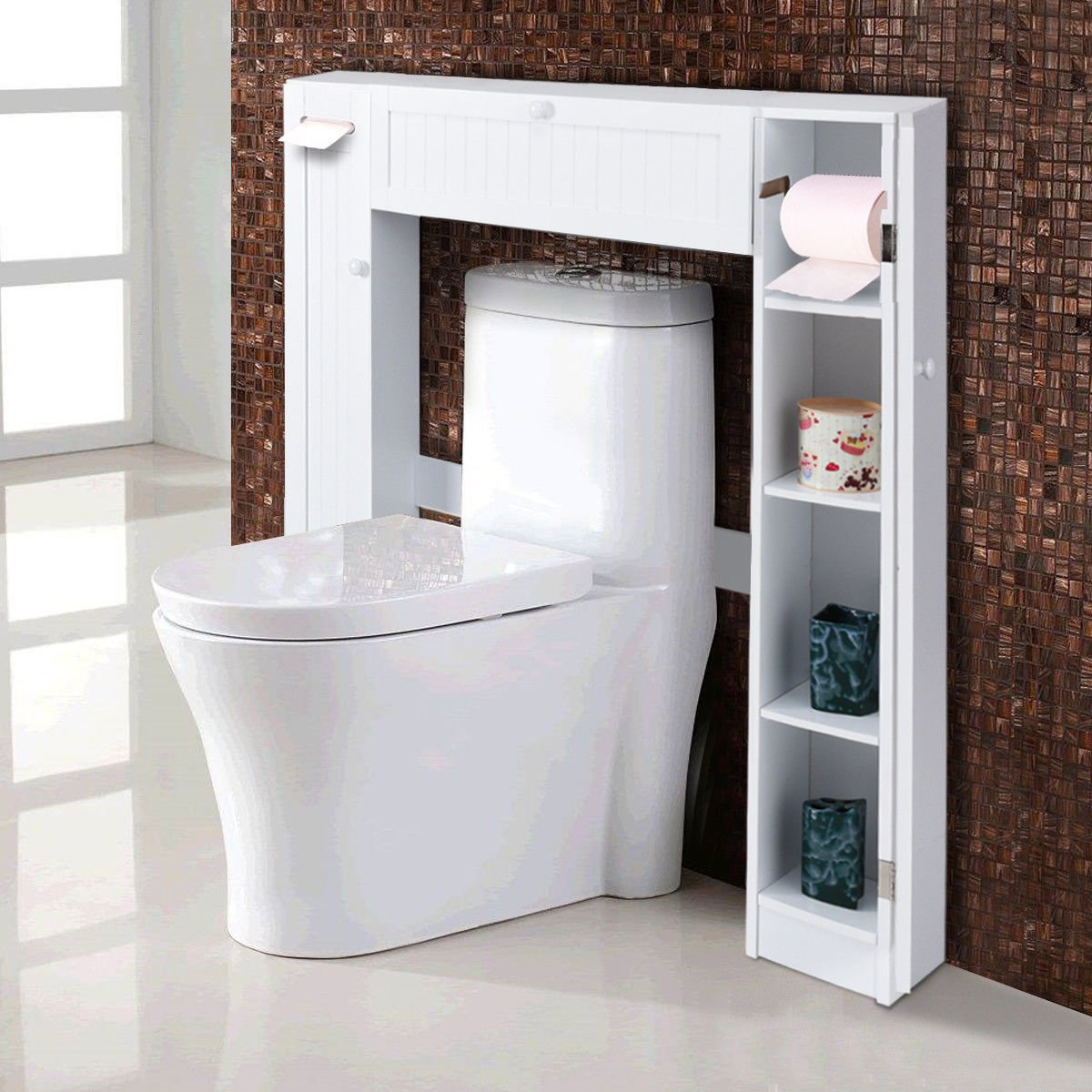 Giantex Over-The-Toilet Bathroom Storage Cabinet Wooden Drop Door Freestanding Spacesaver Improvements, White HW56628