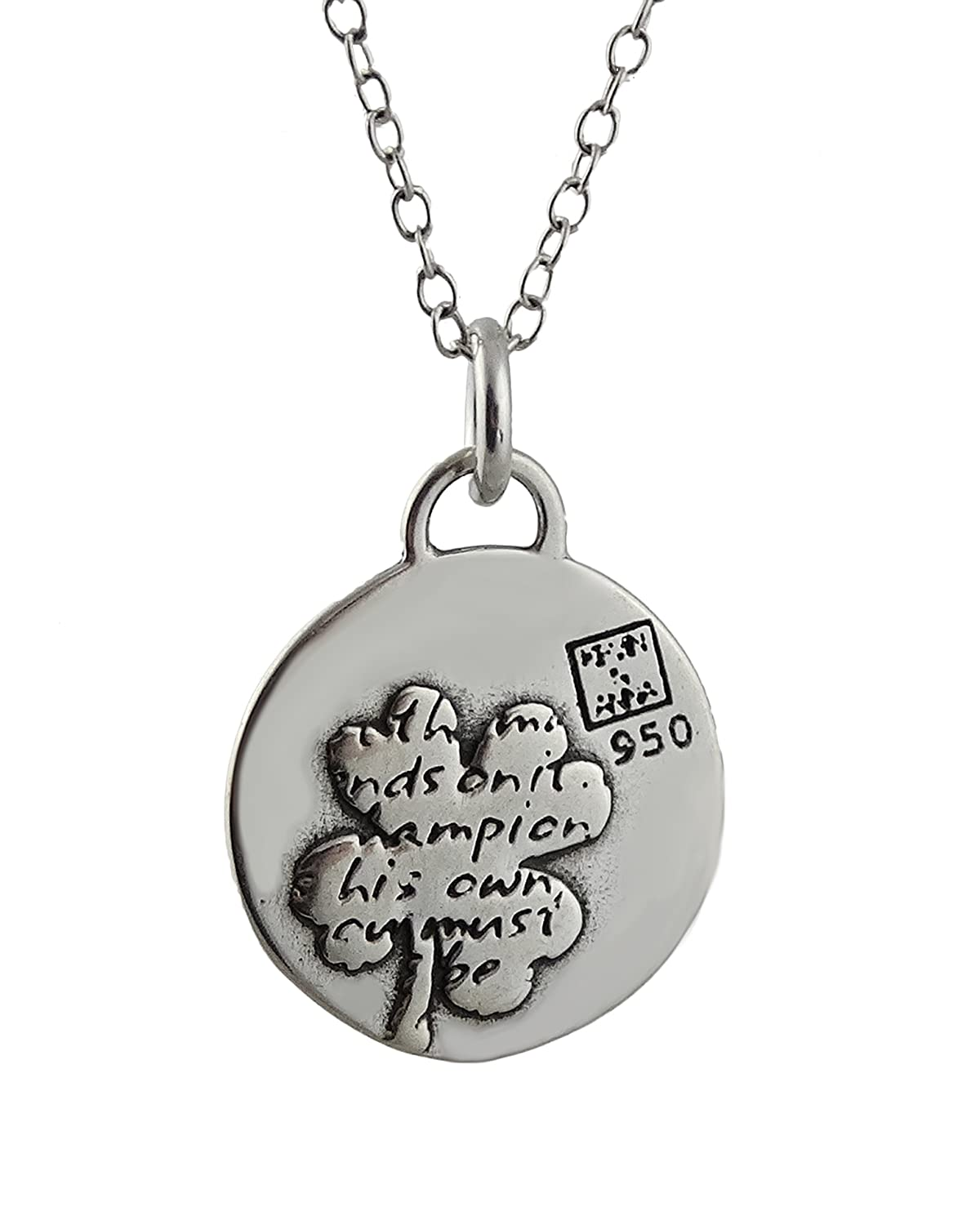 FashionJunkie4Life Sterling Silver Four Leaf Clover Charm Necklace w//Inspirational Luck Quote 18 Chain