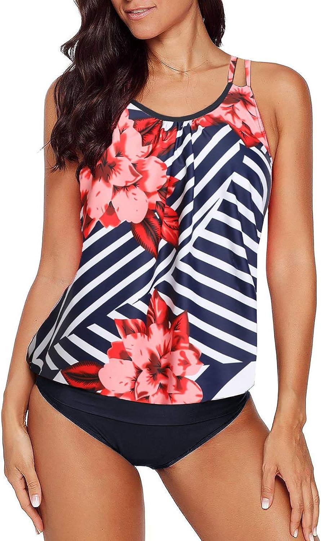 Amazon Com Actloe Womens Swimsuits Blouson Printed Tankini Top With Bikini Bottom Two Piece Bathing Suits Clothing