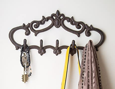 Amazon.com: Cast Iron Wall Hanger – Vintage Design with 5 Hooks ...