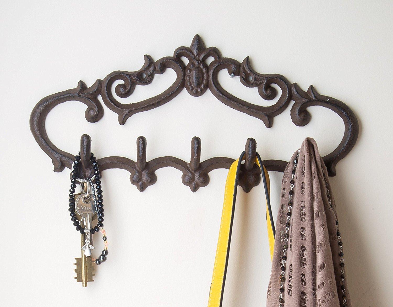 Cast Iron Wall Hanger Vintage Design With 5 Hooks Keys Towels
