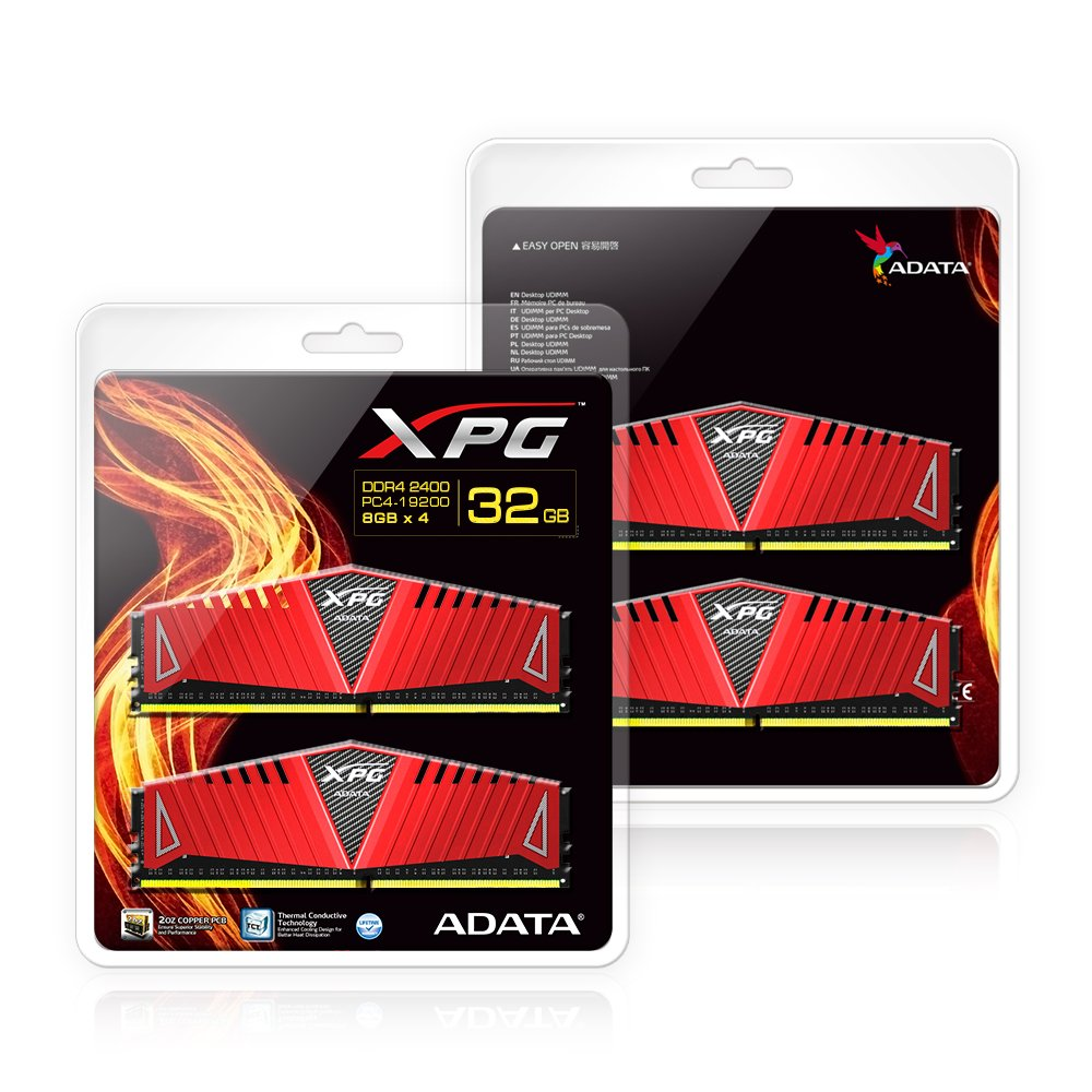 AX4U320038G16-DRZ1 16GB PC4 25600 288-Pin Memory Modules Red 2x8GB XPG Z1 DDR4 3200MHz