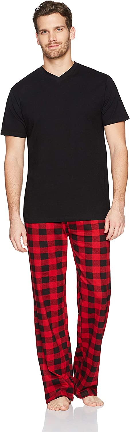 The Slumber Project Men's Short Sleeve V-Neck Tee and Pajama Pant Set