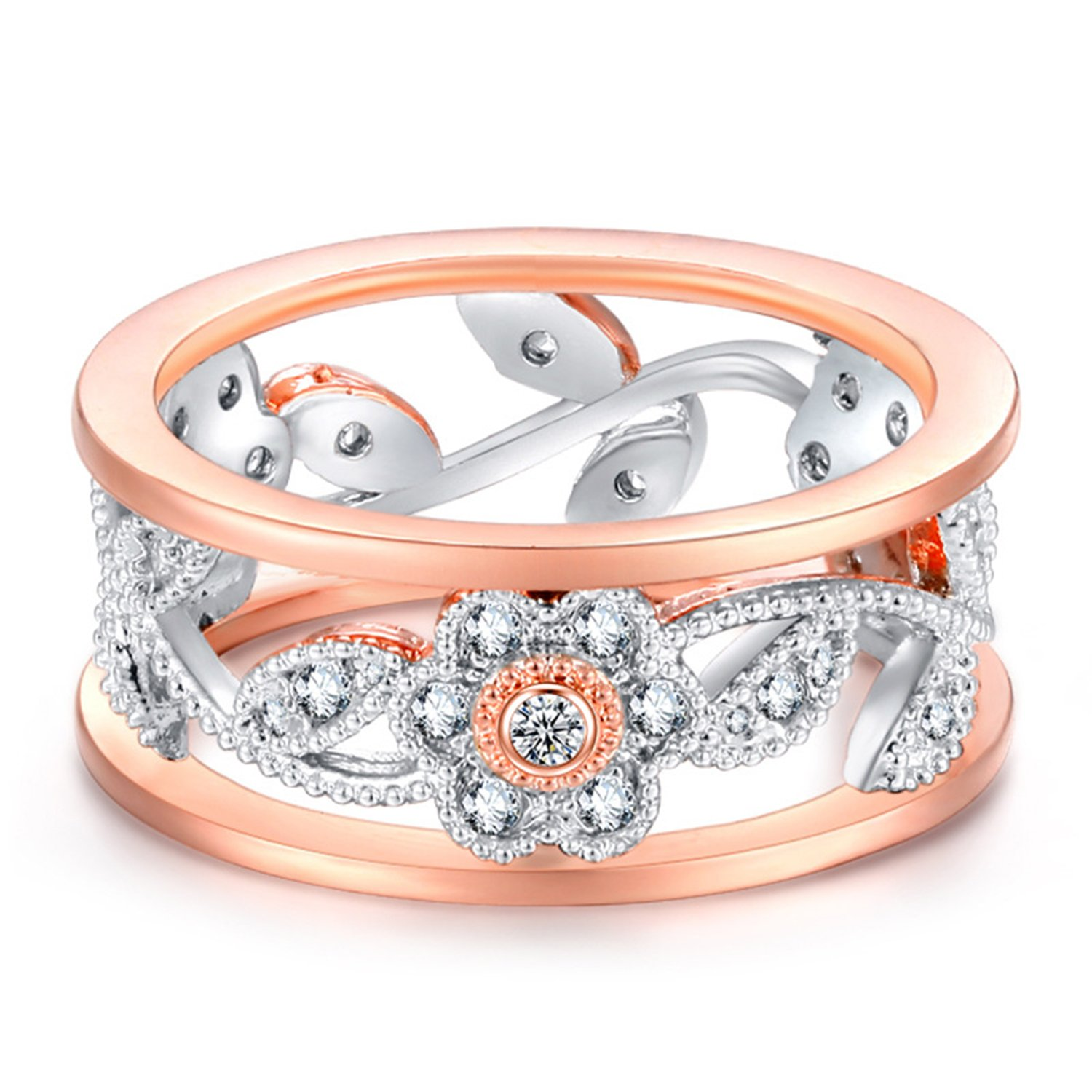 LILILEO Jewelry 8mm Alloy Openwork Lucky Flower Vine Leaves Inlaid Zircon Ring For Women's Wedding Rings by LILILEO