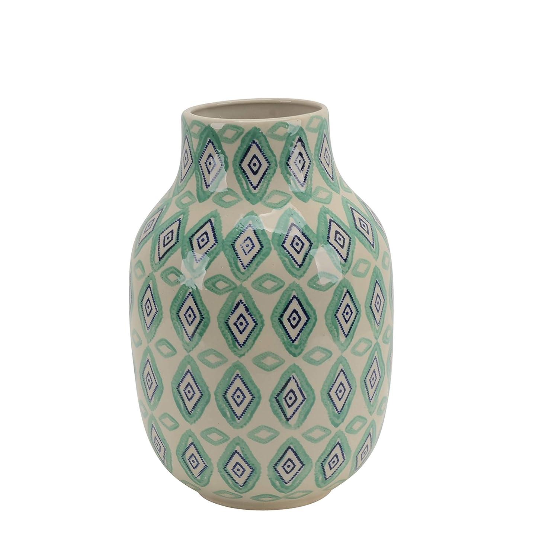 Benzara BM188176 Ceramic Decorative Vase with Design Pattern Multicolor