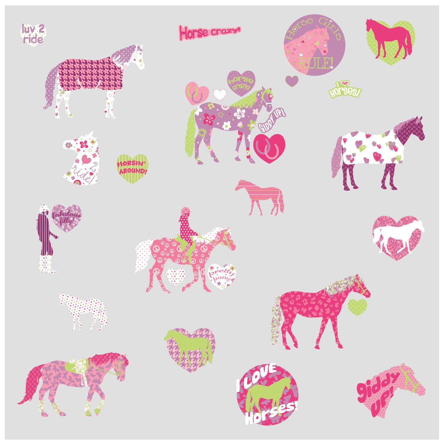 Captivating RoomMates Repositionable Childrens Wall Stickers Horse Crazy: Amazon.co.uk:  Kitchen U0026 Home Part 14
