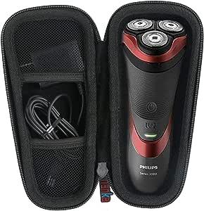 para Philips Series 3000/AT899/PT860/16 S5420/06 5000 S5110/06 Afeitadora eléctrica Duro Viaje Estuche Bolso Funda por Khanka (For series 3000/ AT899, Black zipper ...